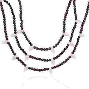 Triple Strand Garnet Layered Rose Quartz Necklace
