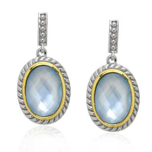 2Tone Sterling Silver Faceted Blue MOP Earrings
