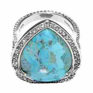Silver Turquoise & White Zircon Halo Ring-SZ 7