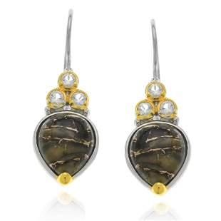 Sterling Silver Abalone Bronze &Topaz Earrings