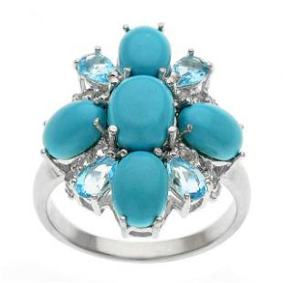Silver Sonora Beauty Turquoise & Topaz Ring-SZ 10