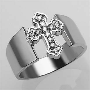 Sterling Silver White CZ Cross Ring Size 9