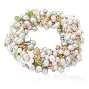 Genuine Multi Color Pearl Stretch Bracelet