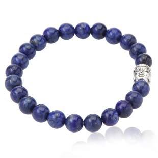 Lapis Buddha Head Stretch Bracelet