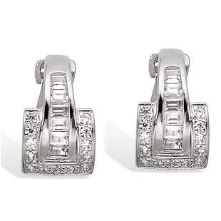Sterling Silver Buckle Hoop White CZ Earrings