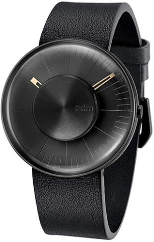 ODM Men Watch-Black Case with Black Leather Strap