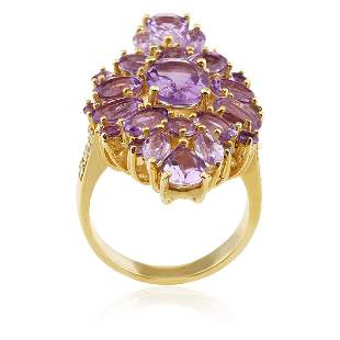 Rose Gold over Silver Amethyst Cluster Ring SZ 8