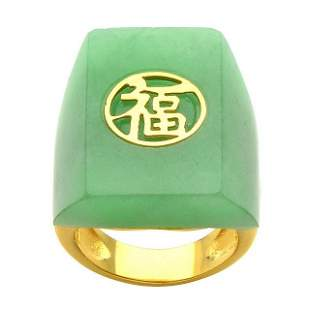 18K Gold Plated Green Jade Ring-SZ 8