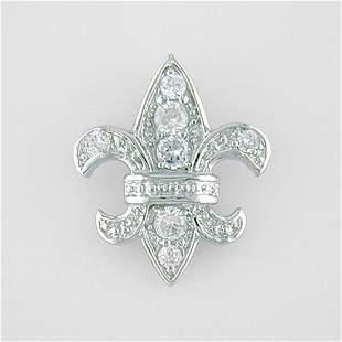 """Silvertone Fleur-De-Lis Necklace 18"""""""