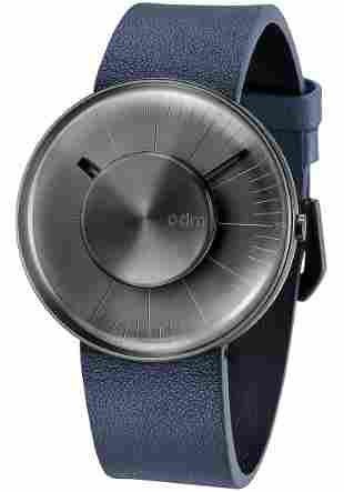 ODM Men's Watch-Grey Case with Navy Leather Strap