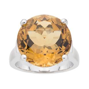 Silver 11.70ct Citrine Solitaire Ring-SZ 6