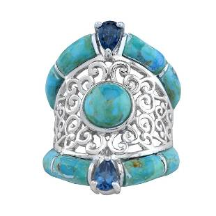 Silver Turquoise & Blue Topaz Scrollwork Ring-SZ 5