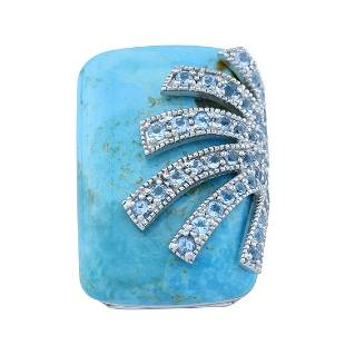 Silver Turquoise & Blue Topaz Overlay Ring-SZ 8