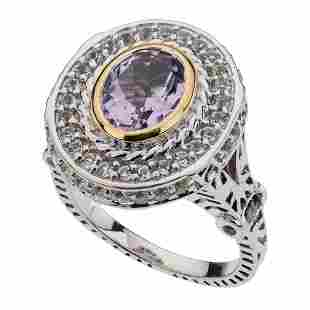 Silver Brazilian Amethyst & Topaz Halo Ring-SZ 9