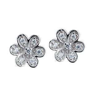 Simulated Diamond Pavé Flower Earrings