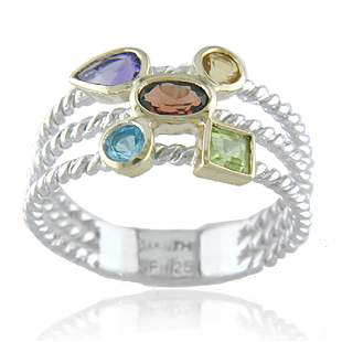 14K and Silver Gemstone Two-Tone Ring SZ 6