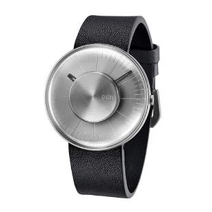 ODM Men's Silver - Watch with Black Leather Strap