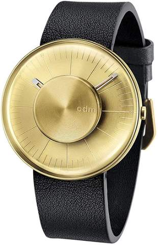 ODM Men's Watch-Gold Case with Black Leather Strap