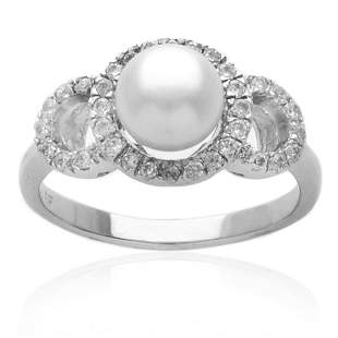 Sterling Silver White Pearl Ring Size 7