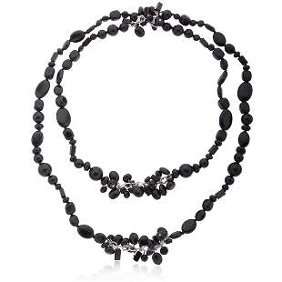 Sterling Silver Black Agate Bead Necklace 42 Inch