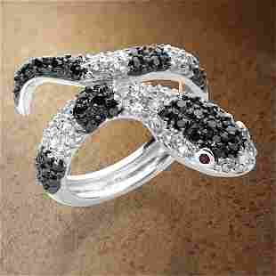 S/S Black&White Pave Snake Ring SZ 7