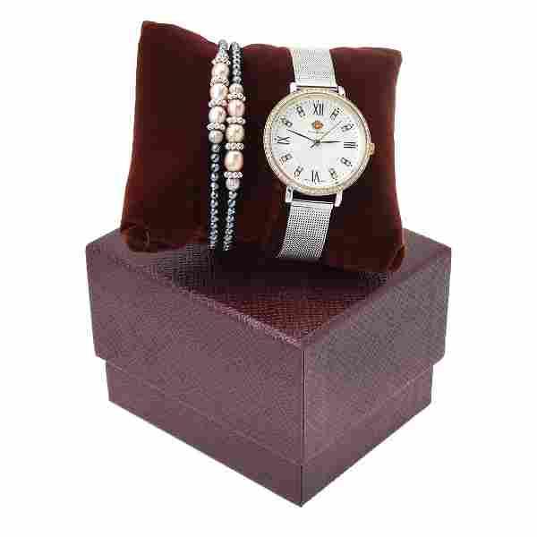 Louis Richard Watch-2Tone & Bead Coil Bracelet