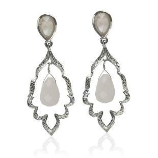Sterling Silver Rose Quartz Drop Earrings