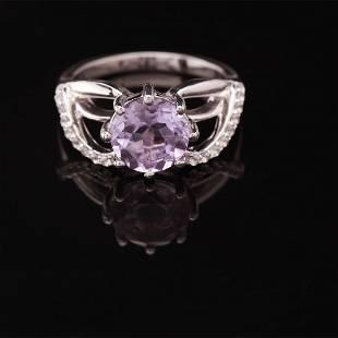 Size 8 Rose De France Amethyst&Topaz Silver Ring