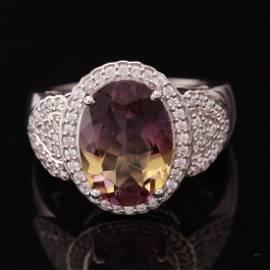 Size 7.5 Sterling Slv Nano Ametrine & Zircon Ring