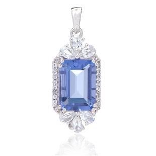 Sterling Silver Emerald Cut Blue Cz &Topaz Pendant