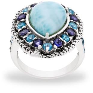 Sterling Silver Larimar & Gemstones Ring-SZ 5