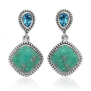 Sterling Silver Turquoise & Blue Topaz Earrings