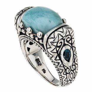 Sterling Silver Larimar East-West Ring-SZ 8