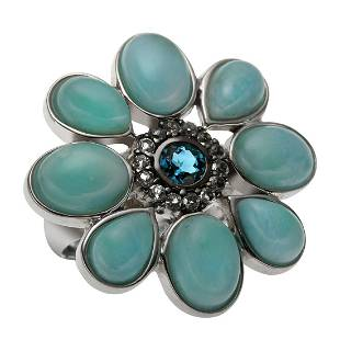 Sterling Silver Larimar & Topaz Flower Ring-SZ 5