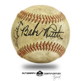 Babe Ruth-Lou Gehrig Red Stitched baseball signed