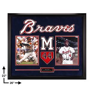 Hank Aaron Atlanta Braves Framed 20x16 Signed GFA