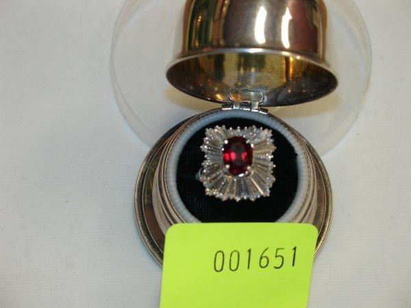 1651: Lady's Rectangular Ballerina-Cluster Dress Ring