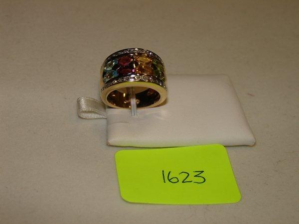 2623: Diamond & Semi Precious Coloured Stone Ring Yello