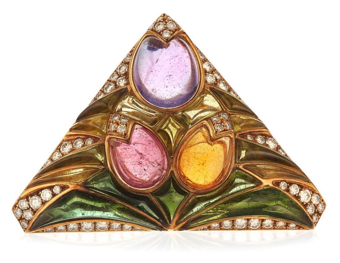 BULGARI DIAMOND AND MULTI-GEM BROOCH