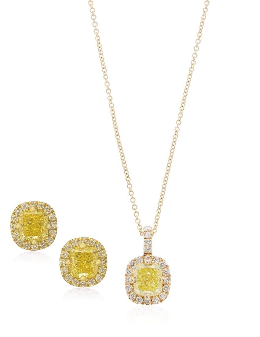 COLORED DIAMOND AND DIAMOND EARRINGS AND PENDANT