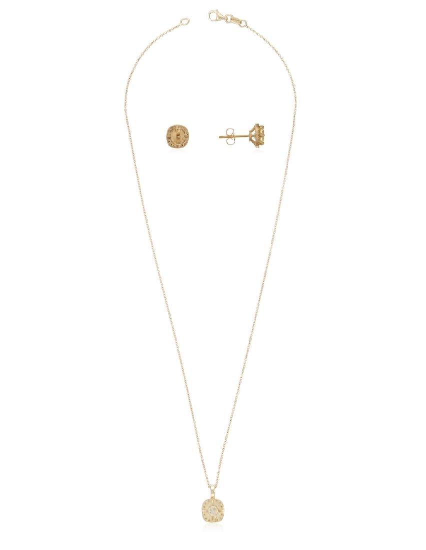 COLORED DIAMOND AND DIAMOND EARRINGS AND PENDANT - 2