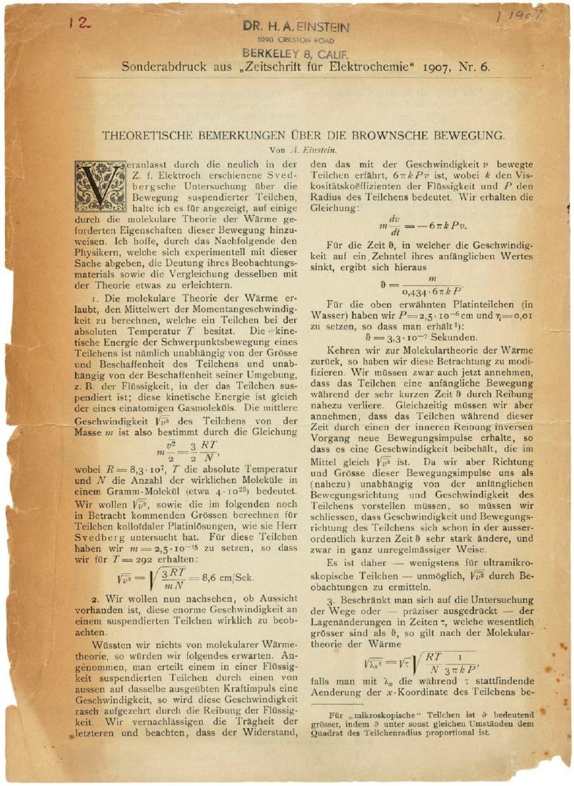 An Einstein offprint on Brownian motion: Hans Albert