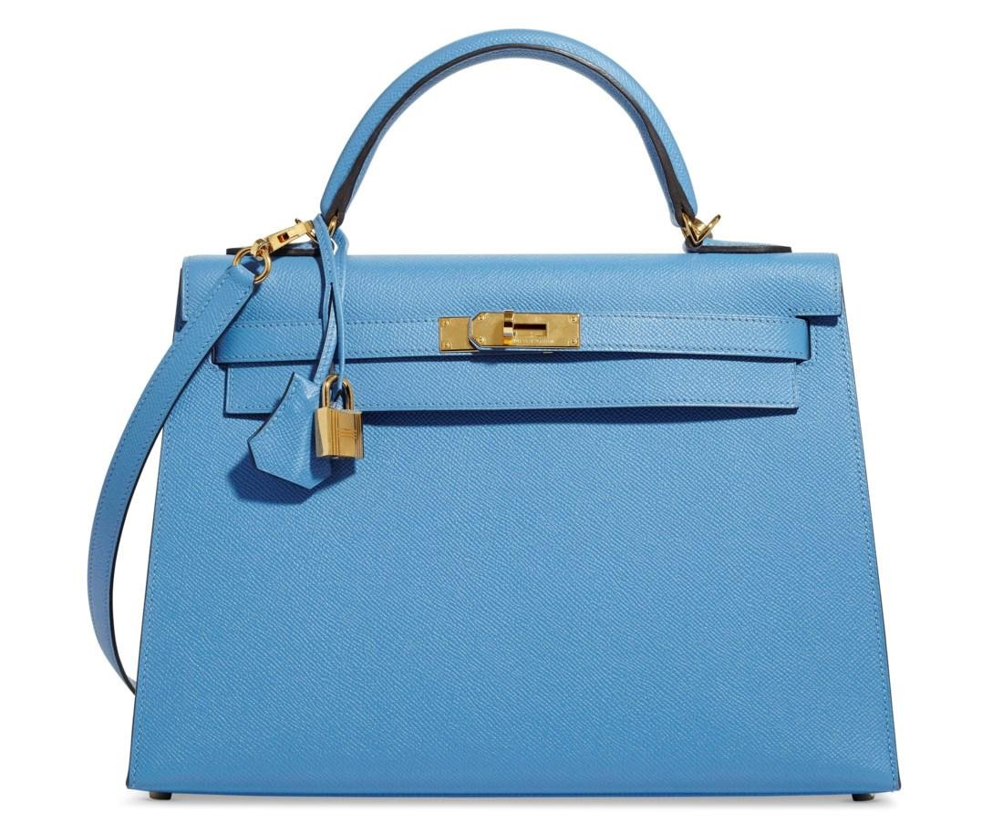 A BLEU PARADIS EPSOM LEATHER SELLIER KELLY 32 WITH GOLD