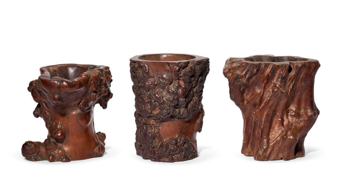 THREE ROOTWOOD BRUSHPOTS