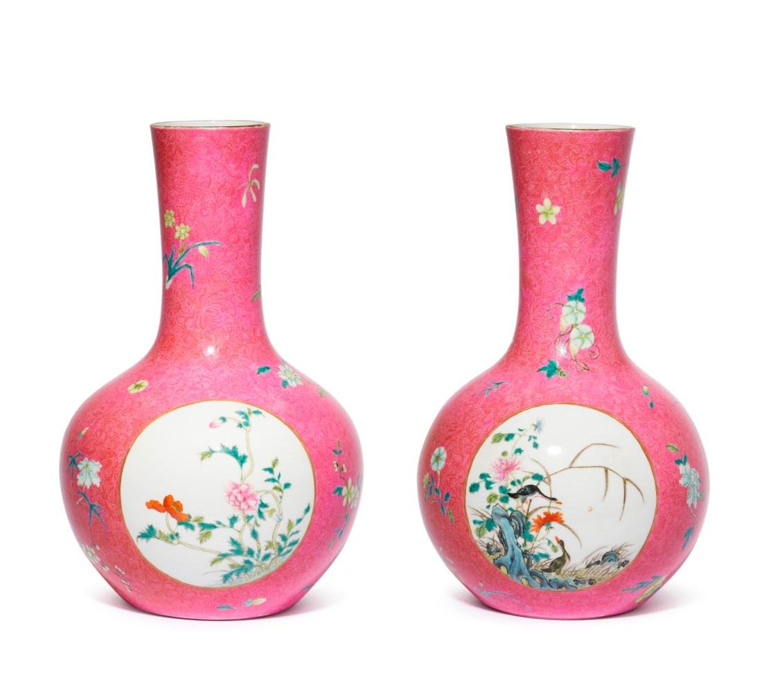 A PAIR OF PINK-GROUND SGRAFFITO FAMILLE ROSE VASES