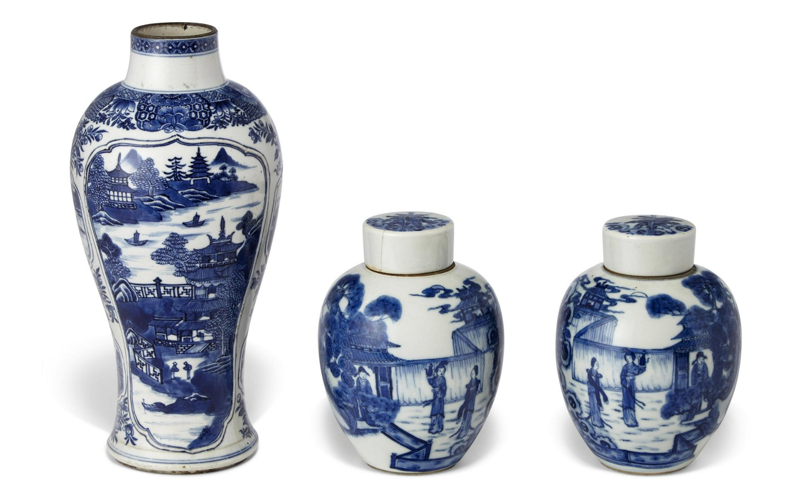 THREE BLUE AND WHITE VESSELS