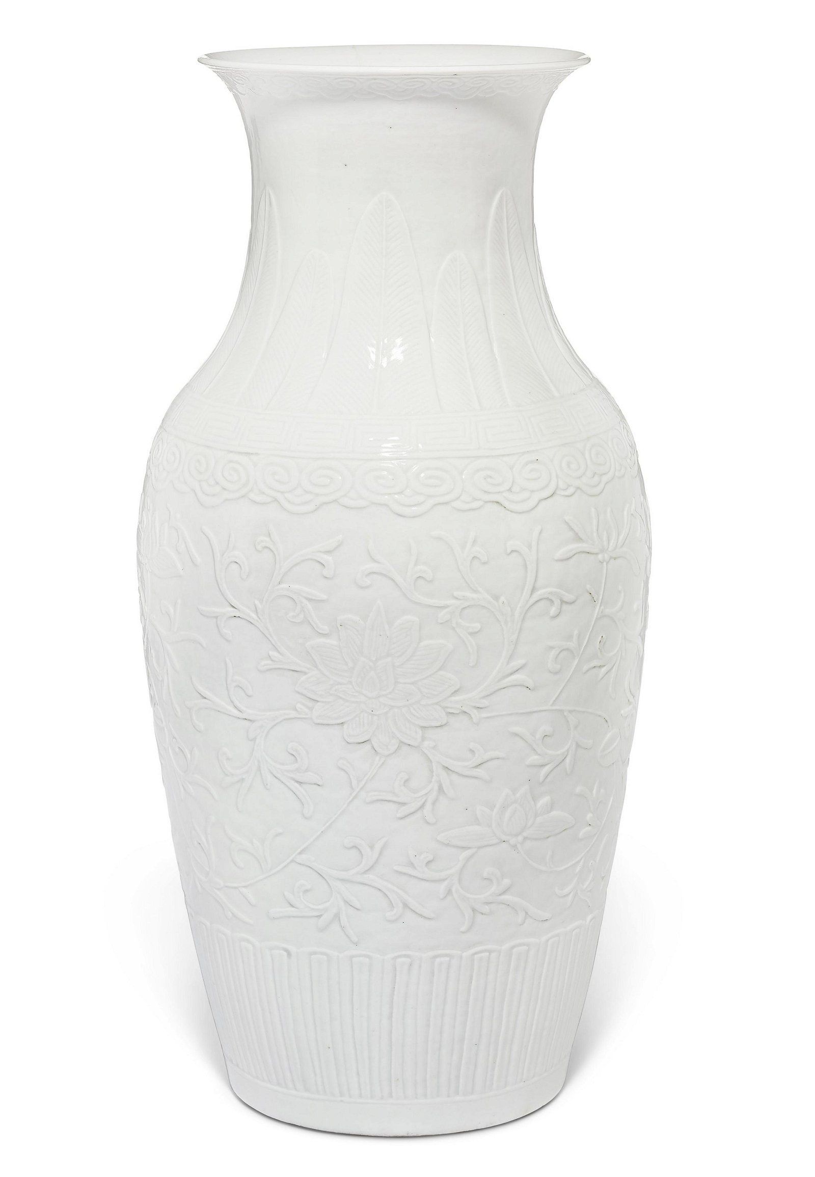 A MOLDED WHITE-GLAZED OVOID VASE