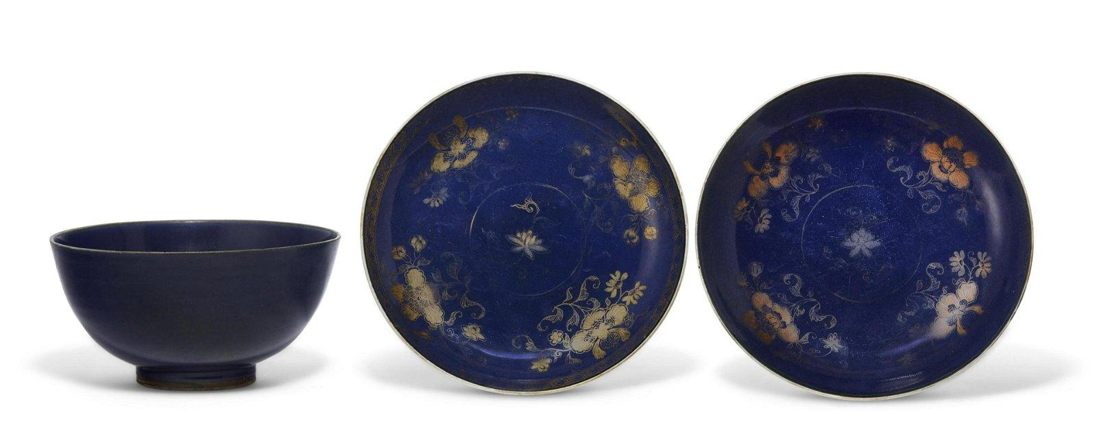 THREE BLUE-GLAZED VESSELS