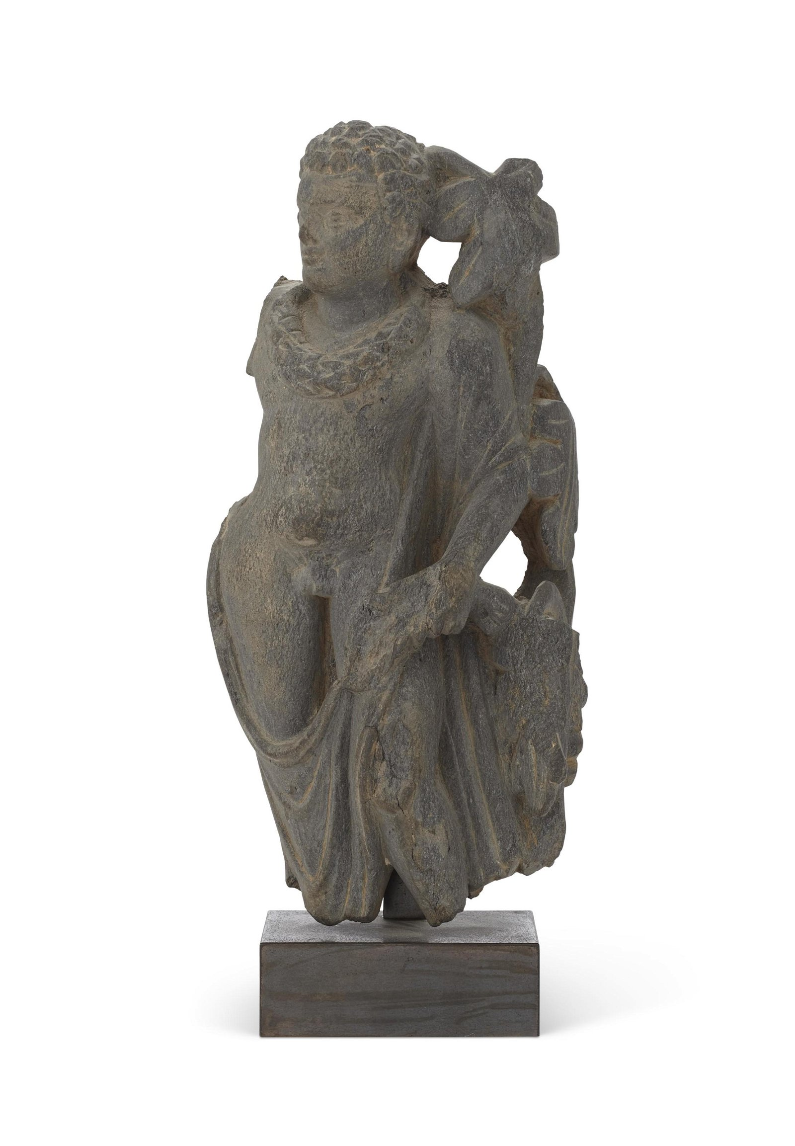 A GREY SCHIST FIGURE OF A MALE, POSSIBLY APOLLO