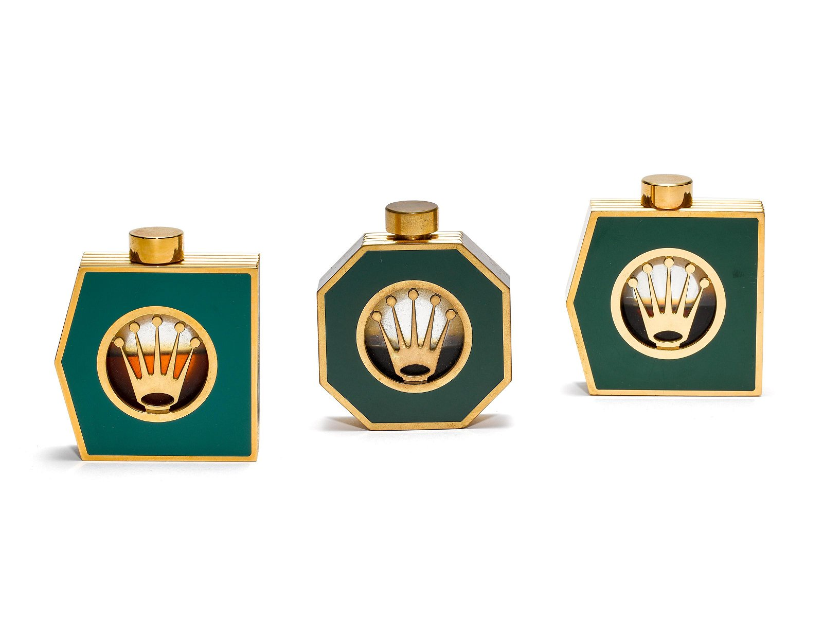ROLEX, A SET OF THREE VERY RARE GREEN LACQUERED AND